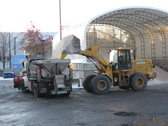 SDOT Snow Day Nov 23: A Loader Pours Salt into the Back of an SDOT Truck