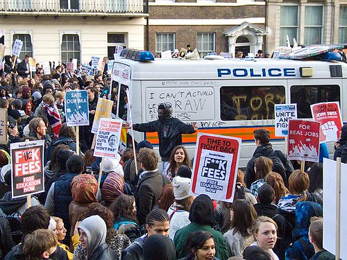 Police van in student protest by ChrisJohnBeckett AT-NC-ND