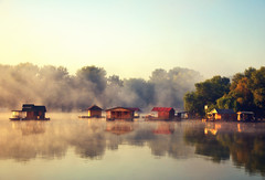 Morning on river Sava, Belgrade, Serbia (ceca67) Tags: morning mist reflection water fog river ada nikon magic beograd 2010 sava belgrad reka d90 ceca jutro splavovi
