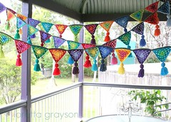 granny bunting (rettgrayson) Tags: crochet hippy garland celebration hippie colourful granny tassels bunting