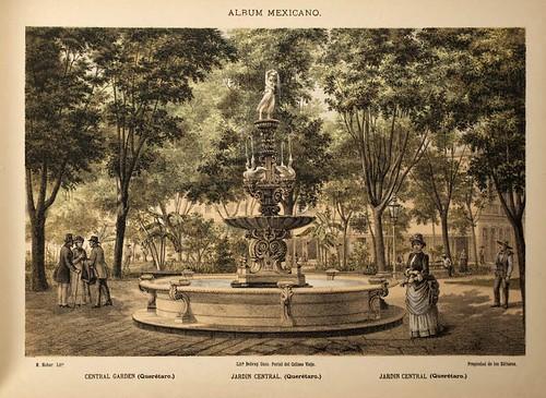 009-Jardin central -Queretaro- Album Mexicano  Coleccion de Paisajes Monumentos Costumbres..1875-1855