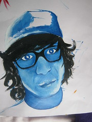 Hey you know what? Cardboard is the best thing ever made by paper. (EpicEffie) Tags: blue boy black art hat painting glasses shiny curly monocromatic
