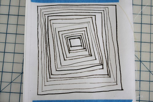 Lines 19 -- ruling pen with acrylic paint