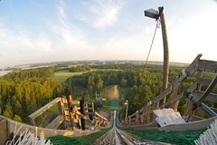 Ski-jumping hill in the summer (Arkku) Tags: morning summer tree forest sunrise finland landscape helsinki scenery outdoor fisheye m42 zenitar kmz skijumpinghill zenitar16mmf28
