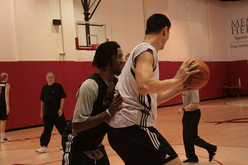 December 2nd, 2010 - Yao Ming and Jordan Hill go one-on-one in practice at Toyota Center