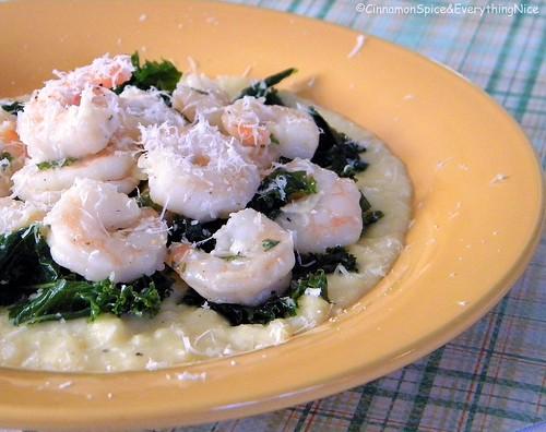 Lemon Garlic Shrimp with Kale and Polenta