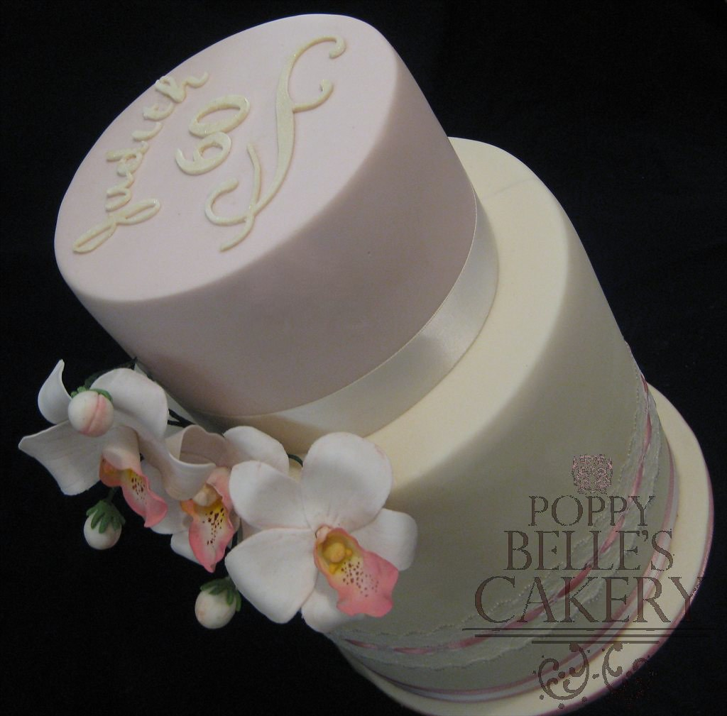 ... orchid dusty rose cake lace barrel cream ivory double extended tier