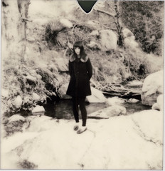 (Pace Bailey) Tags: california bw white snow black film girl rock sepia contrast river polaroid instant mtbaldy polaroidslr680 panpola erinpurcell impossiblepx600uv