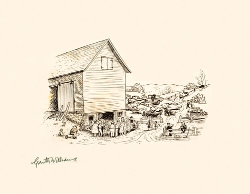 pen drawing: crowd of people around wooden cottage