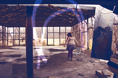 suckerpunch (Viking Astronaut Asa [[Kryptomaisonaut]]) Tags: boy camp portrait selfportrait abandoned girl shirt rural forest self chair boots lace decay spin bbw scout overlay skirt cafeteria decrepit boyscout plain