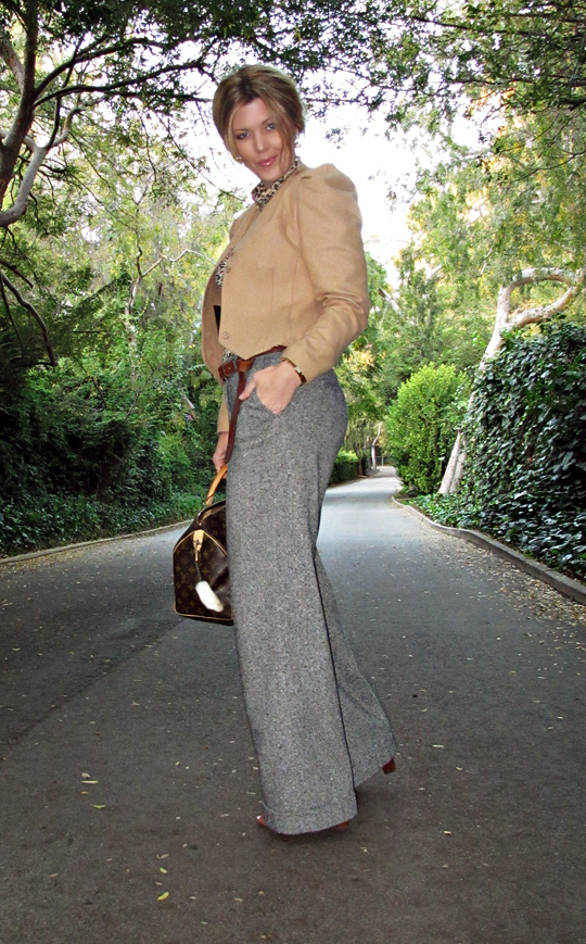 wide leg tweed pants with camel jacket and leopard tshirt