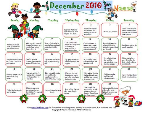 printable december 2010 calendar. Printable December Healthy