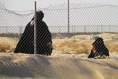 Two women onlookers (Mink) Tags: heritage club desert traditional hijab racing camel kuwait niqab bedouin