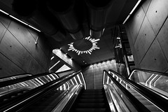 Into The Sun (D.Oscar) Tags: blackandwhite bw architecture canon underground subway escalator malm lightroom citytunneln canond7