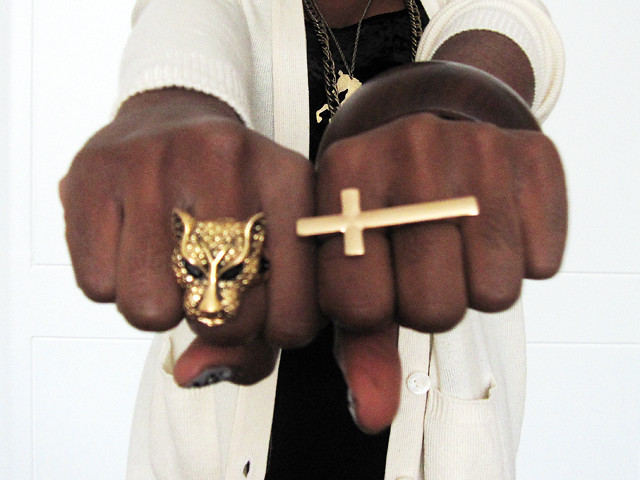 Forever 21 cross and panther rings