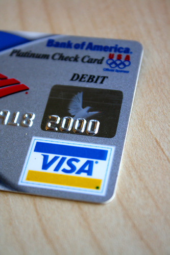 visa card logo. Visa Debit card from Bank of