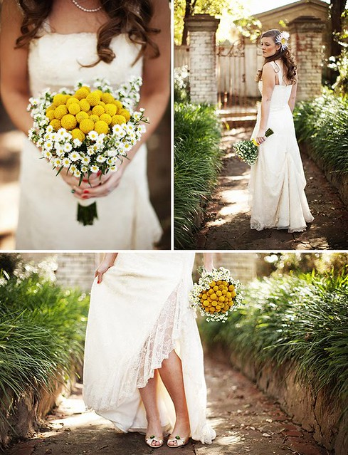 billy balls buttons daisy bouquet wedding