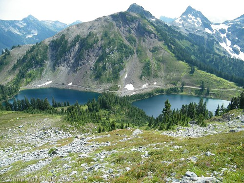 The Twin Lakes, as seen from Winchester Fire Lookout, Mt. Baker-Snoqualmie National Forest, Washington