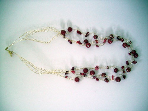 "Crochet ""Reds"" Necklace w/Gold Chain & Clasp"
