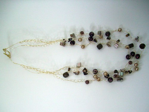 "Crochet ""Browns"" Necklace w/Gold Chain & Clasp"