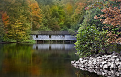 """nestled"" (Anne Strickland) Tags: coveredbridge bridgesofmadisoncounty autumnscenes madisoncountyalabama alabamascoveredbridges cambroncoveredbridge"