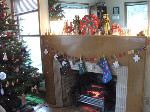 mantel, stockings, a bit of the tree