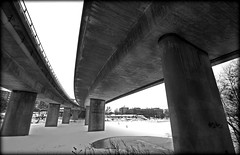 Under the bridge (iMeagain) Tags: bridge winter lake snow ice water is europe sweden stockholm bro scandinavia 08 kungsholmen essingen fredhll