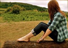 looking ahead (hollie*d4) Tags: wood portrait selfportrait beach girl shirt log sitting redhead jeans thinking lonely awkward plaid lumberjack howies poppit