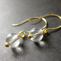 Crystal Ball Earrings in Gold (Gilliauna) Tags: glass gold handmade earrings beaded crystalball crystalclear handmadejewelry dangles artisanjewelry ballearrings