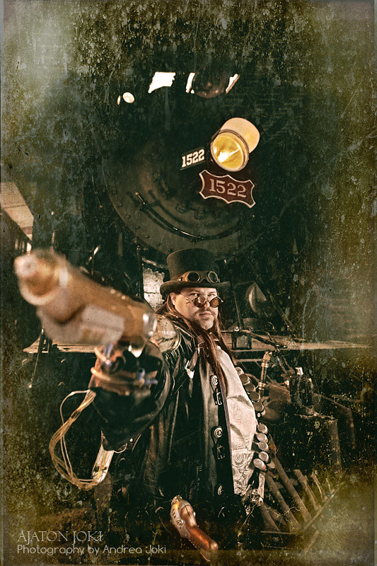 steampunk concept shoot at the railroad museum with artist Joshua Hart