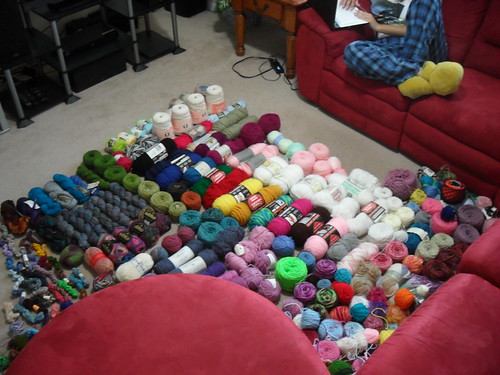 huge big large pile of yarn stash at Tyler Handmade