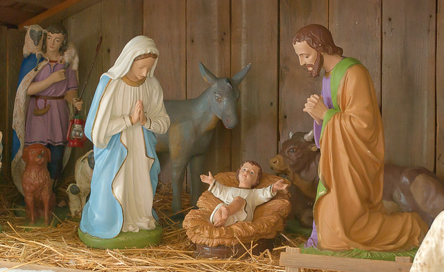 Saint Maurus Church, in Biehle, Missouri, USA - manger scene