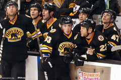 Shawn Thornton on Bruins bench (slidingsideways) Tags: nhl thefinger bostonbruins easilyamused meninblack minnesotawild zdenochara andrewference bradmarchand shawnthornton stevekampfer 20102011 adammcquaid johnnyboychuk g9sports aeryssports