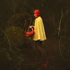 growing into the forest (brookeshaden) Tags: red childhood rock dark lost woods tights yarn innocence cloak day9 brookeshaden