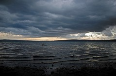Meer van Bracciano (junlal) Tags: light sky italy favorite cloud lake storm color classic water rain clouds contrast landscape licht nikon meer favorites wolken thunderstorm lucht italie regen landschap wolk bracciano kleur onweer d90