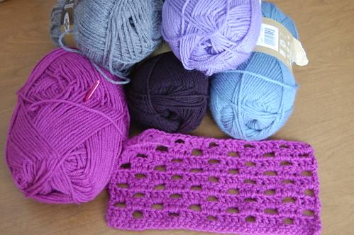crochet sampler afghan - progress 1