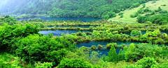 Seen im Nationalpark Jiuzhaigou (China entdecken) Tags: china nationalpark wasserfall unesco sichuan karst jiuzhaigou plitvice kroatien welterbe biosphrenreservat sinterterrassen