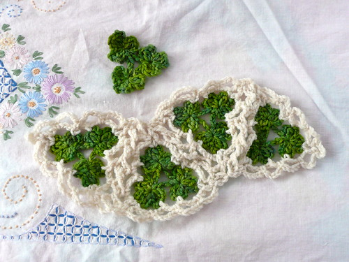 Green and White Crochet