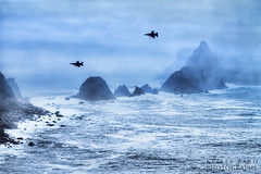 Fog and Planes, Another View (Kelley Bard Photography (20K views, thx!)) Tags: ocean california ca sea sky cloud water rock fog clouds photoshop plane airplane outdoors rocks outdoor planes coastline blueangels pacifica hdr photomatix singleimage topazdenoise