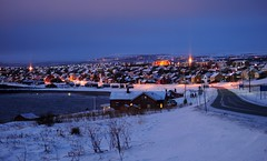Blue hour Vads (GeirB,) Tags: city light urban norway by night landscape evening norge interestingness nikon arctic explore noruega bluehour nikkor lys finnmark vads landskap gp1 varanger bltime explored vadsoe vadso arktisk