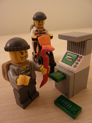 Lego: Cash machine robbery (lydia_shiningbrightly) Tags: macro closeup toy lego zoom robbery cashmachine criminals