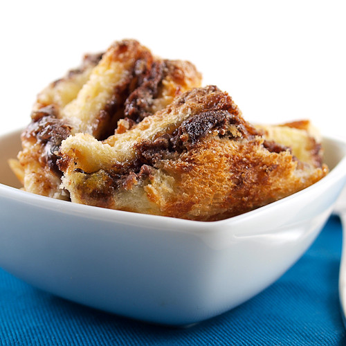 Raspberry Nutella Bread Pudding - Evil Shenanigans
