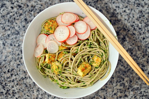 Soba with Cilantro Pesto, Tofu, and Pickled Radishes