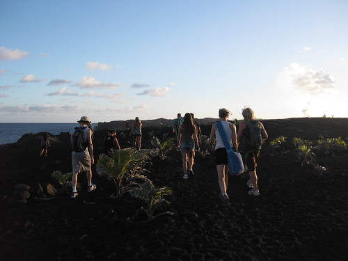 hiking to the lava flow