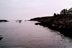 PICT0983 (Emily Taliaferro Prince) Tags: houses blackandwhite water harbor boat rocks maine newengland