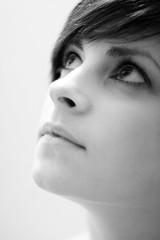 Kate 2. (Ian McWilliams.) Tags: portrait blackandwhite face mouth nose eyes kate wife twiggy