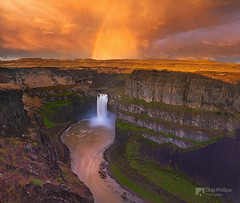 Up the Canyon Rainbow (Chip Phillips) Tags: park sunset river waterfall washington spring rainbow state northwest farming canyon falls agriculture inland palouse