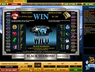 free Black Diamond slot game paytable