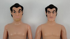 Deluxe vs Designer Gaston 12 Inch Dolls - Shirtless - Lying Down - Portrait Front View (drj1828) Tags: us disneystore dfdc heroesandvillains disneyfairytaledesignercollection 2016 gaston purchase deboxed deluxedollgiftset beautyandthebeast comparison undressed outfits shirtless 12inch