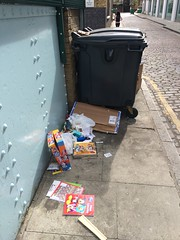 No Room in the Bin (My photos live here) Tags: london capital city england wicklow street north camden kings cross grays inn road rubbish litter bin dumpster christmas boxes tins biscuits mickey mouse